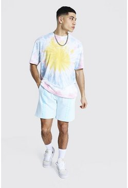 Light blue blue Oversized Man Tape Tie Dye Tee And Short Set