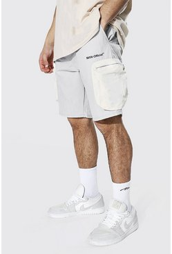 Light grey grey Man Crinkle Shell Colour Block Cargo Short