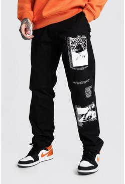 Black svart Relaxed Fit Graphic Printed Chino Trouser
