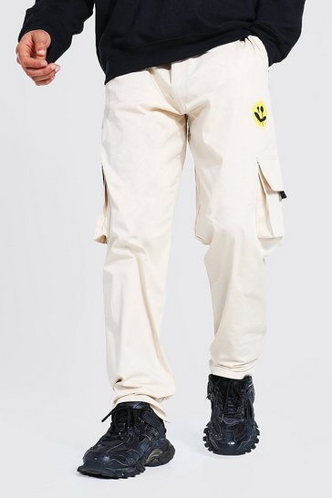 Stone beige Relaxed Spray Face Print Cargo Chino Trouser