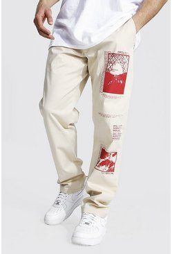 Stone beige Relaxed Fit Graphic Printed Chino Trouser