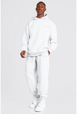 Ash grey Oversized Man Official Hooded Tracksuit