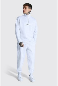 Ash grey Oversized Man Signature Half Zip Tracksuit