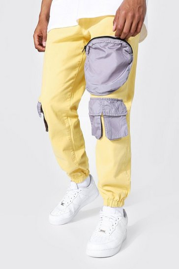 Yellow Shell Contrast 3d Pocket Cargo Trouser