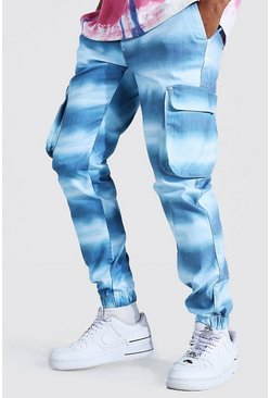 Blue Shell Printed Zip Pocket Cargo Trouser
