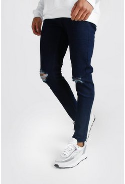 Indigo Skinny Jeans With Rip Knees