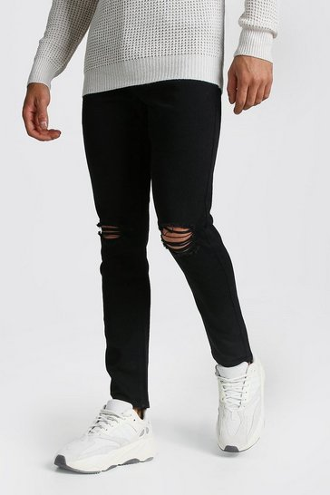Black Skinny Jeans With Rip Knees