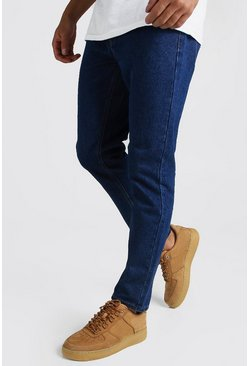 Dark blue blå Slim fit jeans i rigid denim