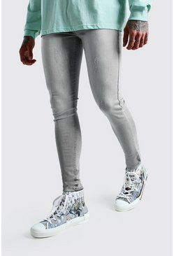 Light grey Super Skinny Jeans With Abrasions