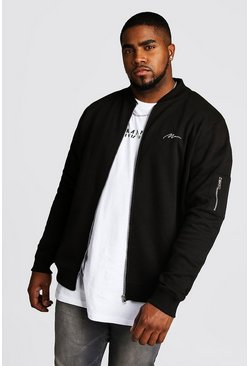 Black Big and Tall MAN Script MA1 Jersey Bomber