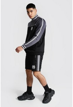 Black Colour Block Half Zip Short Tricot Tracksuit