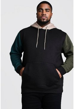 Black Plus Size Colour Block Over The Head Hoodie
