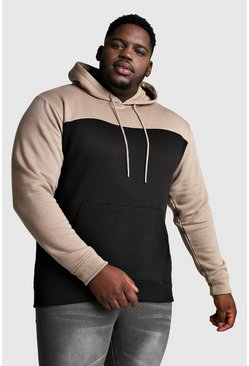 Black Big And Tall Colour Block Hoodie