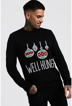 Black Well Hung Kerst Sweater