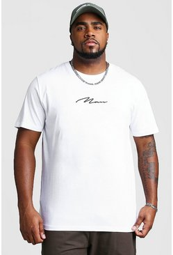 White vit Big & Tall - Man Script T-shirt