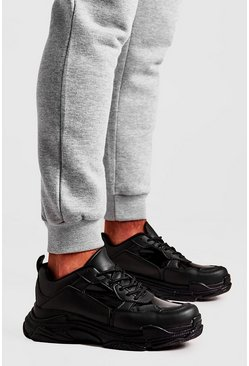 Black Clear Panel Chunky Trainer