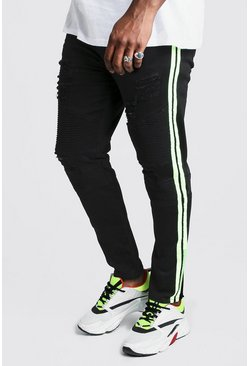 Black Plus Size Skinny Fit Neon Side Tape Biker Jean