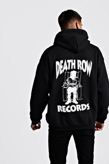 Black Oversized Death Row License Hoodie