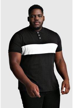 Black Plus Size Colour Block Jersey Polo