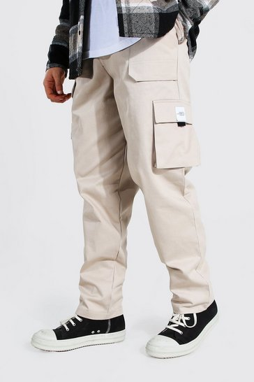 Stone beige Relaxed Twill Belt Front Cargo Trouser