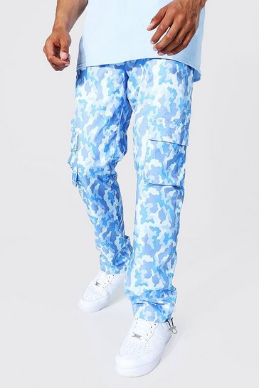 Blue Camo Shell Cargo Trouser With Toggles