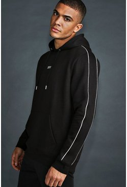 MAN Active Hoodie With Reflective Piping, Black Чёрный
