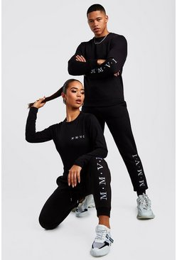 Black Hers Crew Neck Bodysuit & Jogger Set