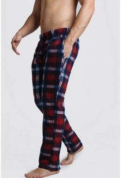 Check Polar Fleece Lounge Pant, Red rouge