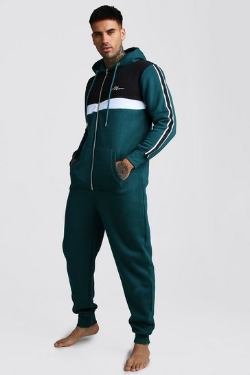 Teal green MAN Script Colour Block Onesie