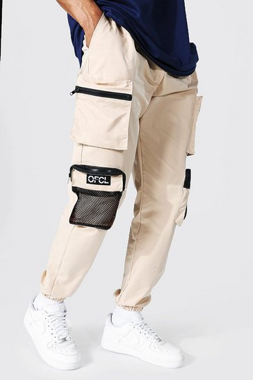 Stone beige Man Print Twill 3d Mesh Pocket Cargo Trouser