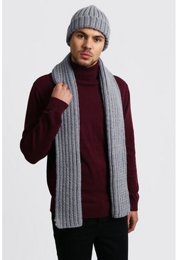 Fisherman Beanie And Scarf Set, Grey
