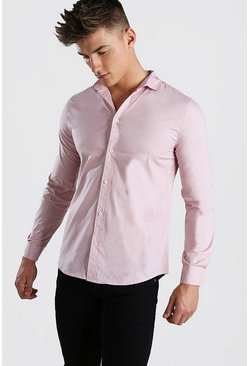 Pale pink pink Muscle Fit Long Sleeve Shirt