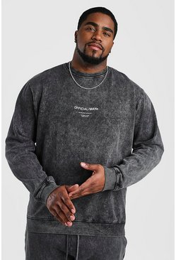 Black Big And Tall Official MAN Acid Wash Sweater