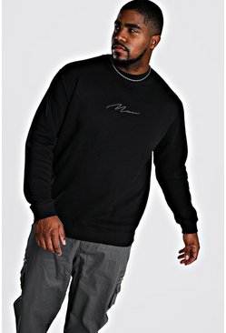 Black svart Big & Tall - Man Script Sweatshirt