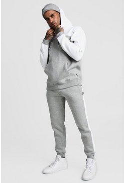 Grey Colour Block Hooded Tracksuit