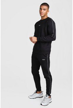 Black MAN Skinny Fit Tracksuit With Reflective Detail