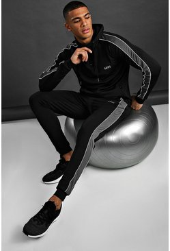 Black MAN Poly Skinny Fit Hooded Tracksuit