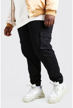 Zwart black Plus Utility Cargo Joggingbroek Met Zakdetail