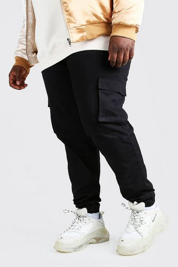 Black Plus Size Utility Pocket Cargo Jogger Trouser