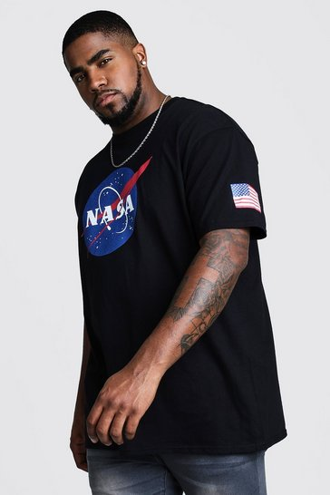 Black Plus Size NASA Sleeve Print License T-Shirt