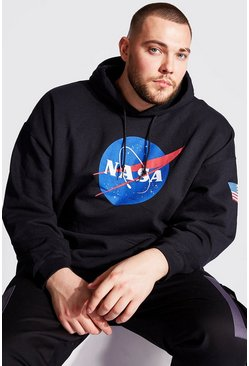 Black Plus Size NASA Sleeve Print License Hoodie
