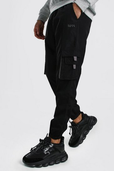 Black Original MAN Shell Cargo Jogger With Tabs