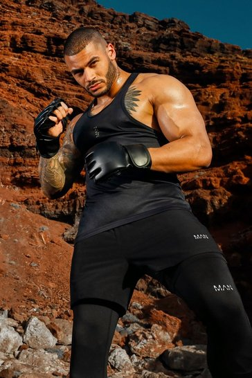 Black MAN Active Poly Gym Racer Vest