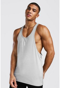 Silver Man Active Poly Gym Racer Tank Top