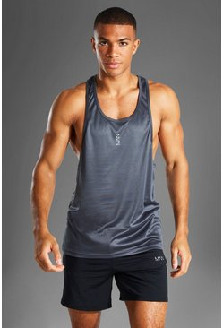 Charcoal grey MAN Active Poly Gym Racer Vest