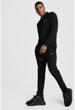 Black MAN Signature Scuba Half Zip Harrington Tracksuit