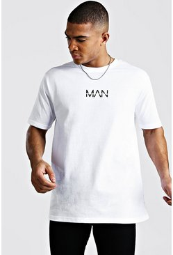Oversized T-Shirt mit Original MAN-Print, Weiß
