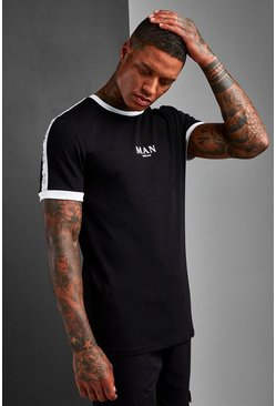 Black Muscle Fit MAN Roman Sleeve Tape Ringer T-Shirt