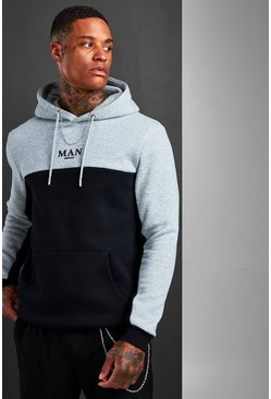 MAN Roman Colour Block Hoodie With Back Tape, Black nero