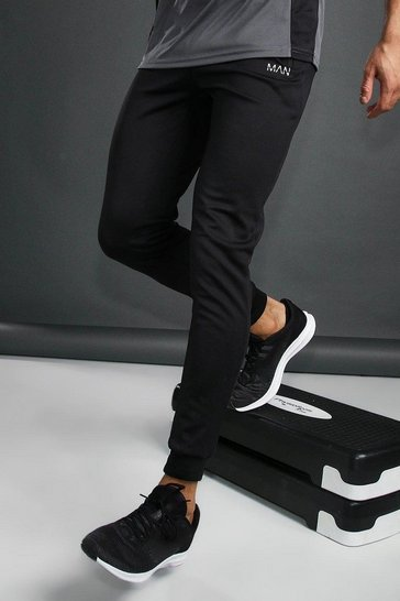 Black MAN Active Skinny Poly Joggers